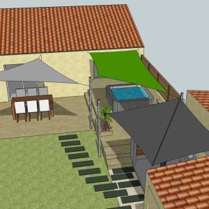 3D Etude Réalisation Voile d'Ombrage pour votre jardin